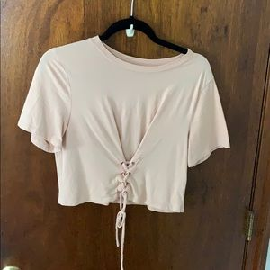 Tan lace up crop top